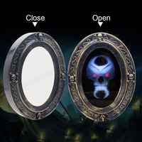 Halloween Prop Induction Touch Haunted Mirror with Creepy Sound Luminous Skull