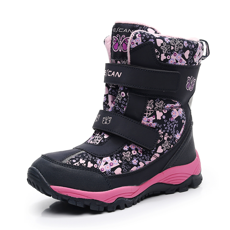 Girls Boots Waterproof Kids Boots Warm Plush Baby Boys Snow Boots Children 2018 Winter Shoes For Girl Non-slip Outdoor Boots стоимость