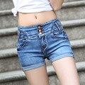 Shorts de Cintura alta Mulheres Shorts Jeans Femme 2016 Verão Casuais Shorts Jeans Bermuda Feminina Quente Plus Size