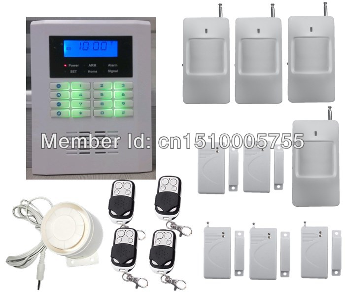 DIY security smart home alarm system wireless dual-network quad-band  PSTN+GSM alarm system+4 PIR detector+5 door magnet sensor 433mhz dual network gsm pstn sms house burglar security alarm system fire smoke detector door window sensor kit remote control