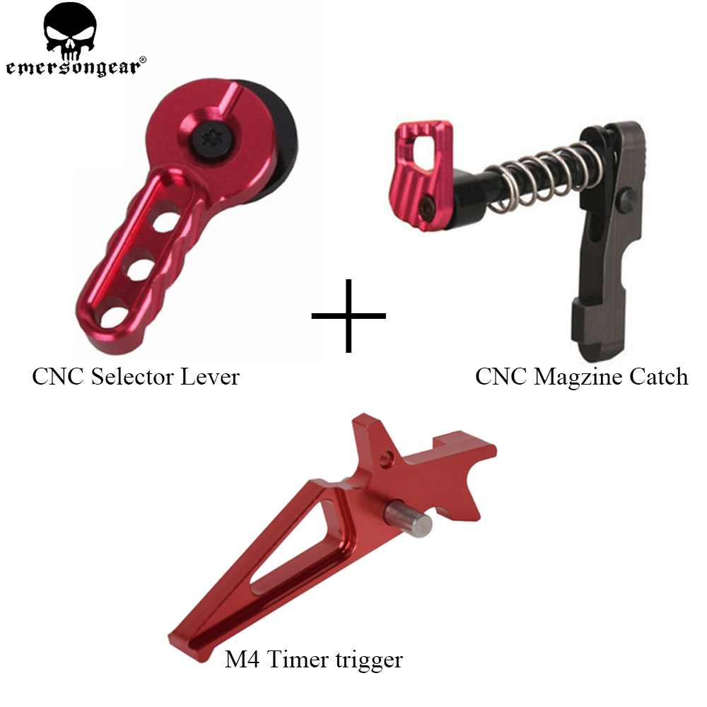 EMERSONGEAR CNC Airsoft Machined Selector Lever Magazine Release Catch for M4/M16 Series Black Magzine Catch dd type hard rubber pistol grip for m4 m16 black