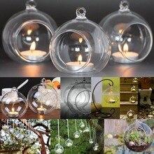 Прозрачная стеклянная ваза, гидропонная ваза для цветов, Висячие круглые стеклянные вазы для аквариума, аквариума, декоративные аксессуары для дома