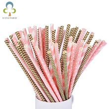 50pcs pink gold striped kids birthday wedding New Year Christmas party decoration event supplies drinking Paper Straws GYH(China)