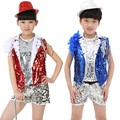 Hip-hop jazz modern dance costumes Children's clothes stage clothes for girls Stage Performance garment Sequined vest + pants