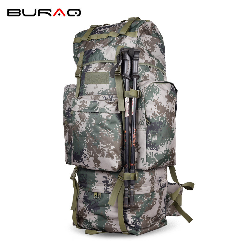 New 100L Camouflage Men Women Water Resistant Metal Frame Airsoft Resin Mesh Large Capacity Durable Men Travel Backpack T0075-1 70l internal metal frame molle backpack rucksack water resistant bags 600d camouflage men long distance travel backpack t0071
