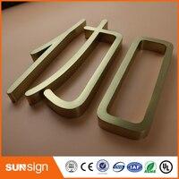 Tablero de muestra de letras de acero inoxidable de oro rosa para exteriores