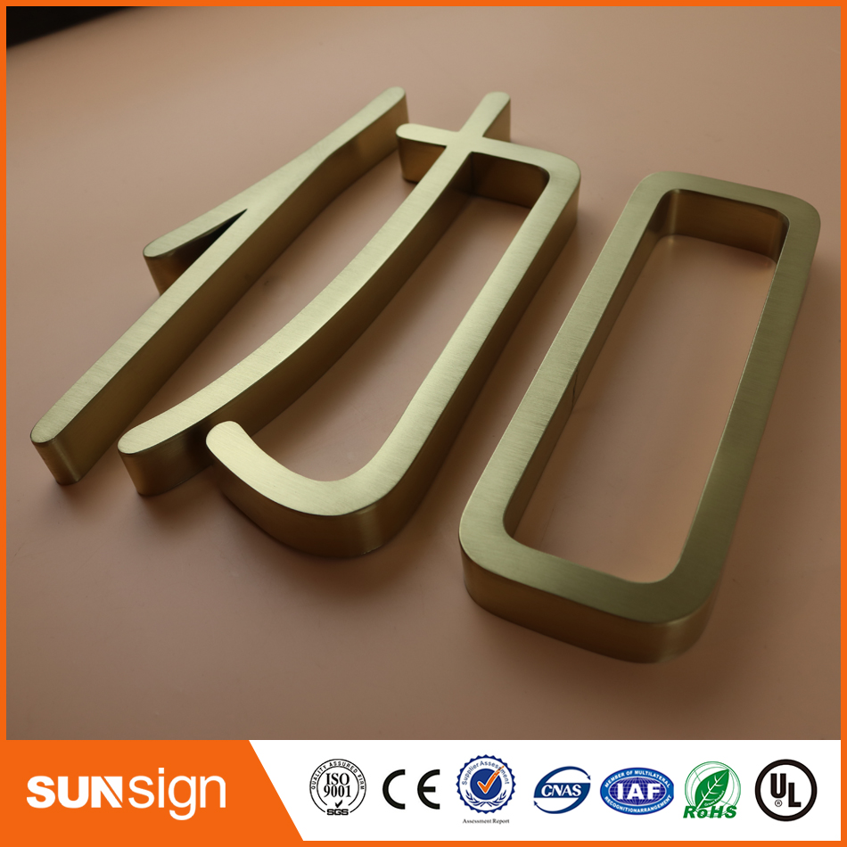 Outdoor Rose Gold Stainless Steel Letter Sign Board