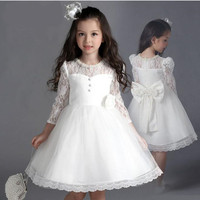 2017 Fashion Children Clothes Girls Tulle Lace Dress Big Bow Floral Peral Long Sleeve Girls Dresses