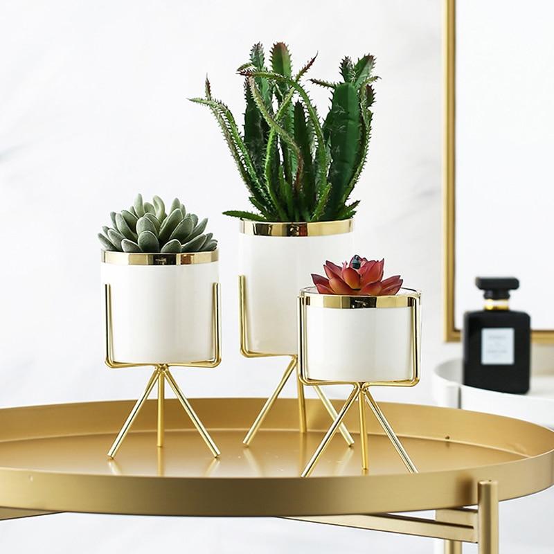 1PC Nordic Hydroponic Ceramic Iron Art Vase Minimalism Flower Vases Green Plant Flowerpot Coffeehouse Office Home Decoration Vases     - title=