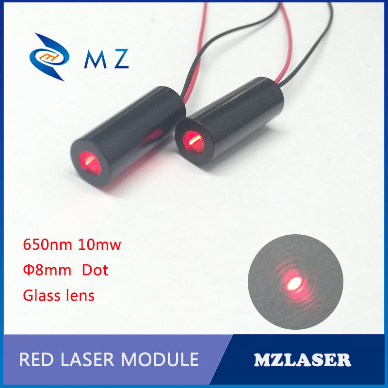 Red Dot Laser Moudle 8mm 650nm 10mw Glass Lens  Industrial Red Laser Module