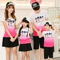 2016 mother father baby fashion	mommy and me clothes cotton family clothing short sleeve character 3925