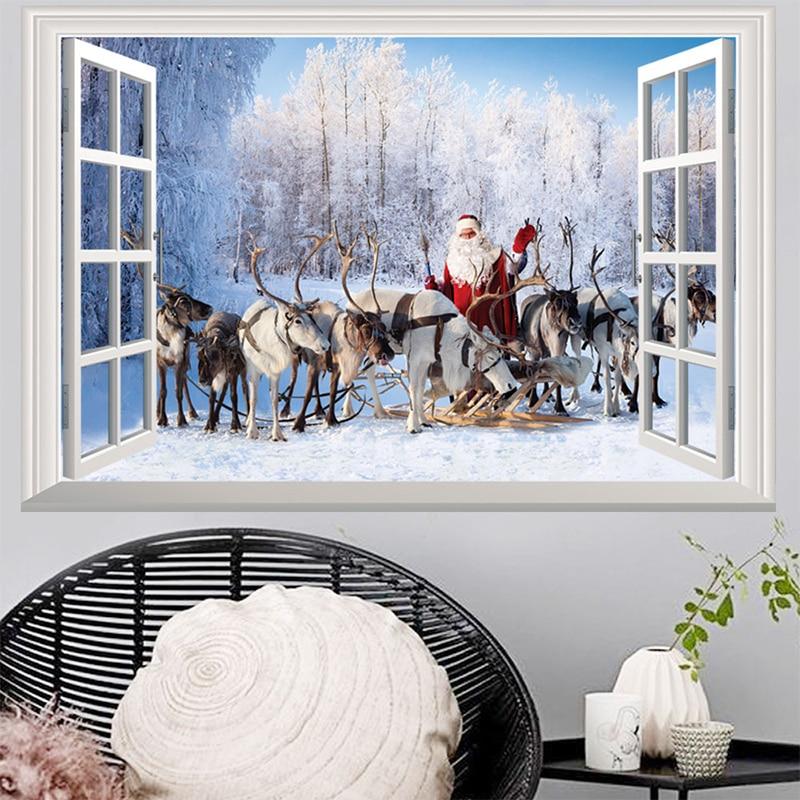 Decoration For Stickers Christmas Xmas Santa In Pendantamp; 2pvc Scene Living Room Navidad Wall Window Reindeer Snow Home 2018 Paintings Claus Us3 sQCxrdBth