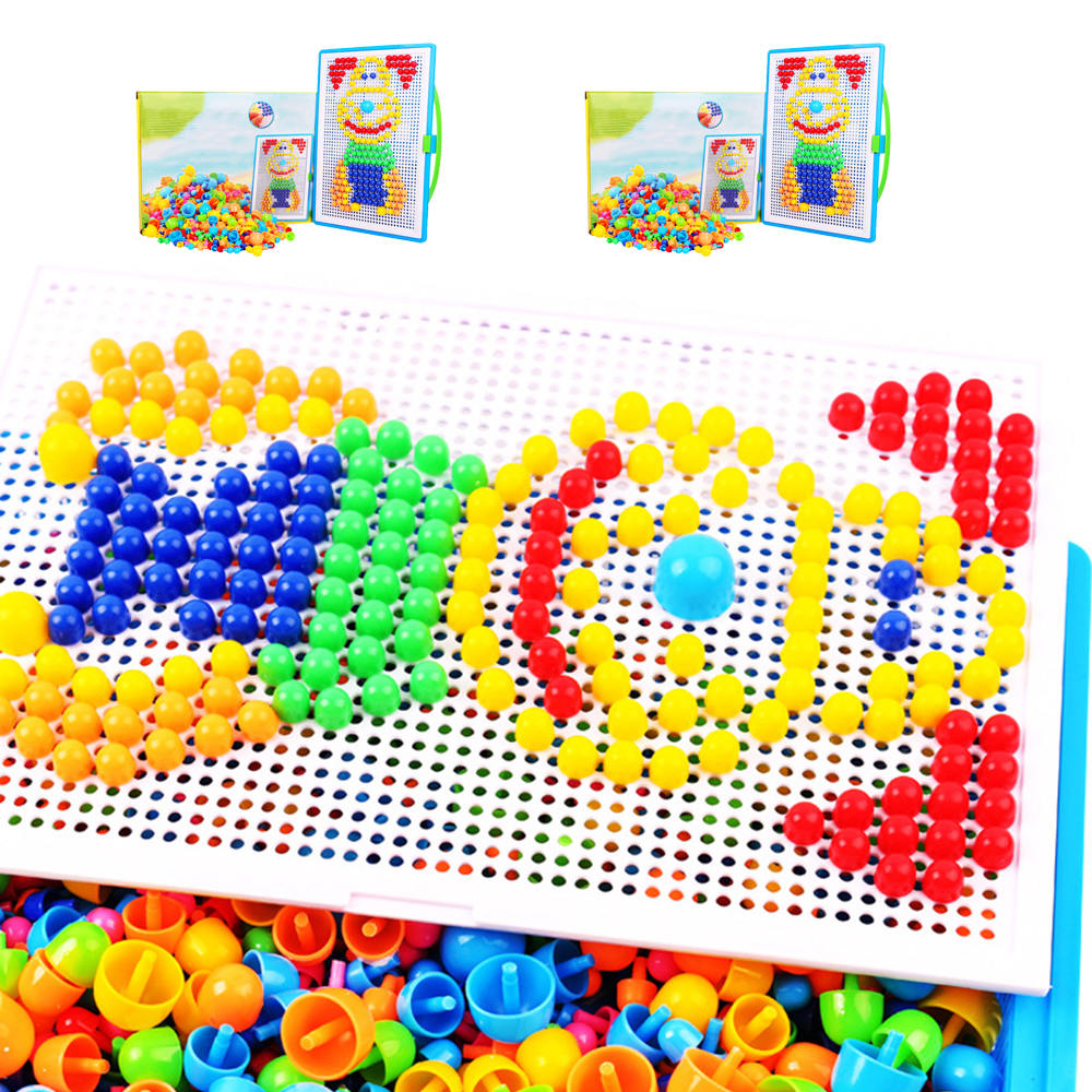 300/600pcs Children Intellectual Toys Educational Mushroom Nail Kit Toys For Kids Gifts DIY Mosaic Picture Puzzle Toys