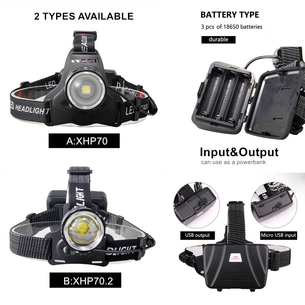 Image 2 - XHP70.2 XHP70 USB Headlight 90000LM Led Headlamp LED Rechargeable Head Torch Flashlight Lantern 3*18650 battery Powerbank-in Headlamps from Lights & Lighting