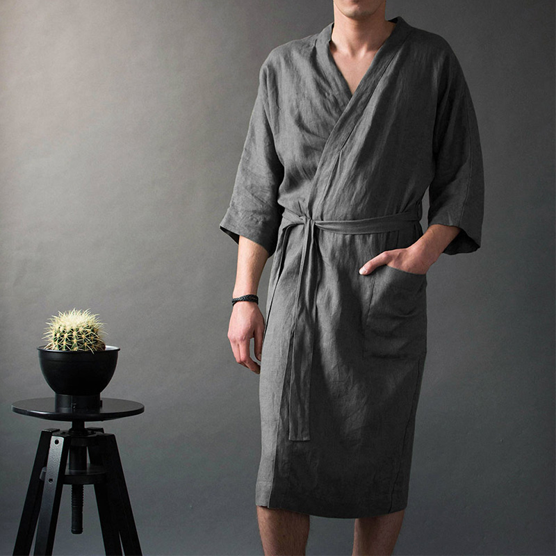 Men's Linen  SimpleLong Lace Up Pajamas Robes Wrist Sleeve  V-neck Solid Male Robe 2019 Vintage Men Bathrobe Homme Nightgown