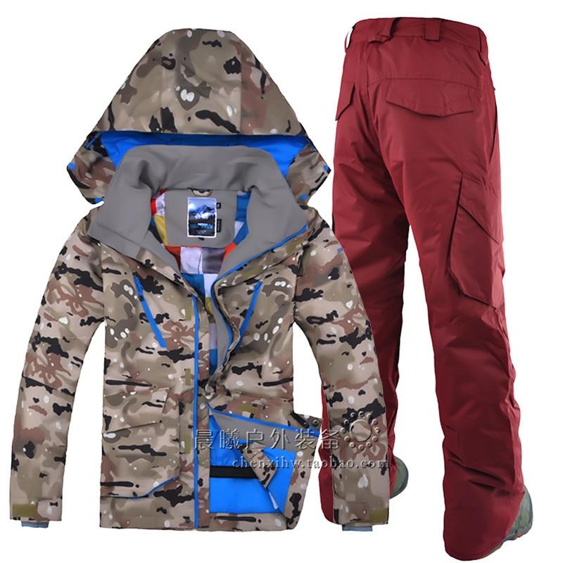 Prix pour GSOU SNOW En Plein Air loisirs sport Camo ski veste zipper coupe-vent respirant combinaison de ski costume hommes de double plaque unique combinaison de ski
