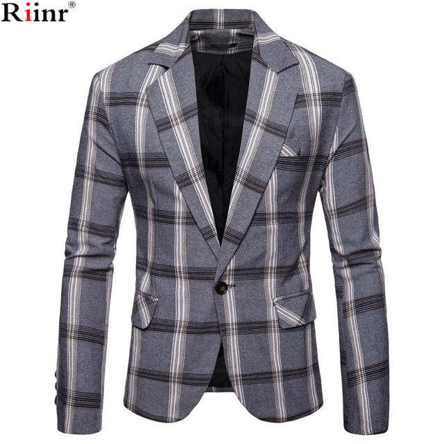 Riinr Brand Men Casual Blazer Suit Mens Cotton Slim Fit Classic