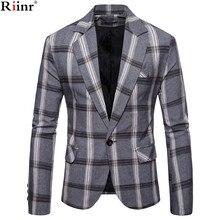 Riinr бренд осень Для мужчин Повседневное Блейзер костюм Для мужчин s хлопковый костюм пиджак Slim Fit Для мужчин Классические Smart Повседневное блейзер для мужчин