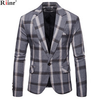 Riinr Brand Autumn Men Casual Blazer Suit Mens Cotton Suit Jacket Slim Fit Men's Classic Smart Casual Blazer For Male
