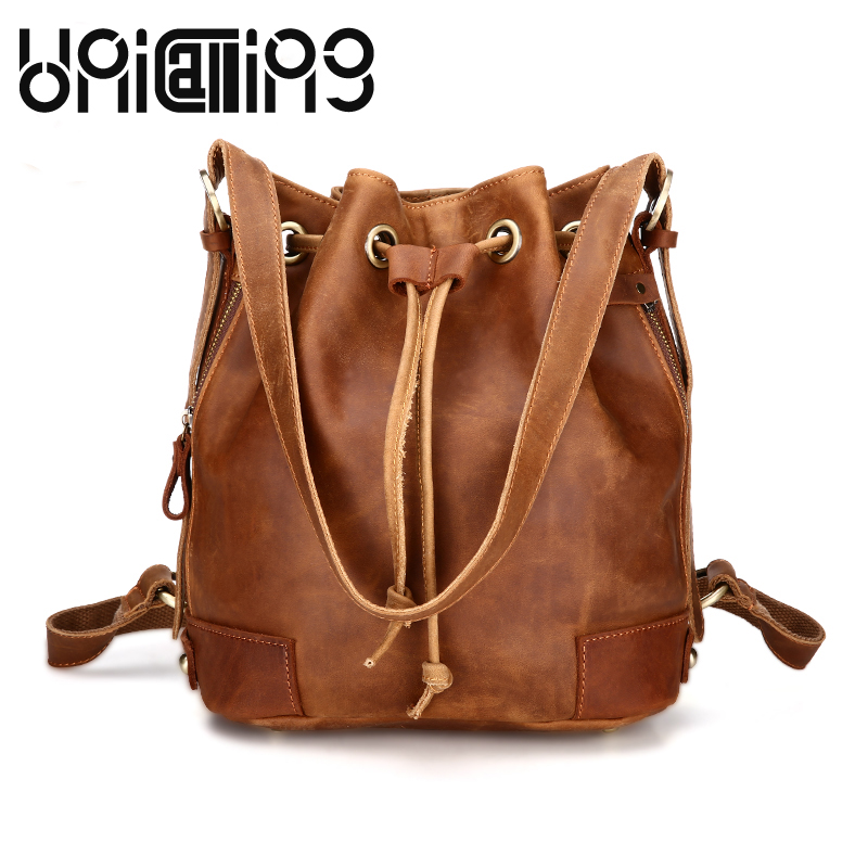 New style backpack women bag Fashion Leisure Genuine Leather women crossbody shoulder bag Retro mini Large capacity Bucket Bag new genuine leather women oil nubuck retro women backpack casual backpack casual shoulder bag bucket bag a4625