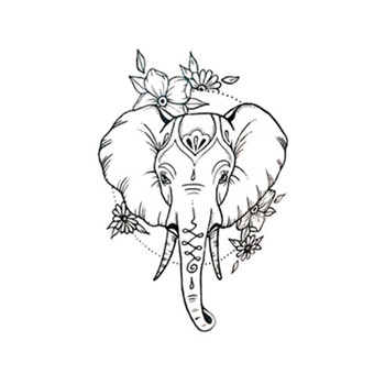 Waterproof Temporary Fake Tattoo Stickers Cute Elephant Animals Cartoon Design Body Art Make Up Tools line art