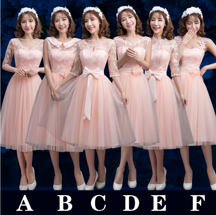 item light pink bridesmaid dresses long full sleeve line elegant wedding party dress cheap ladies