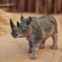 Hand carved rhinoceros solid wood ornaments crafts solid wood rhino home Decoration(A210)