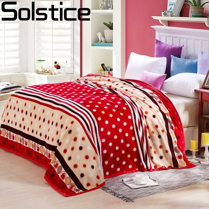 solstlce bedding high quality brand red striped small dots flannel blanket warm soft coral fleece blanket on the bed plush quilt - Flannel Blanket