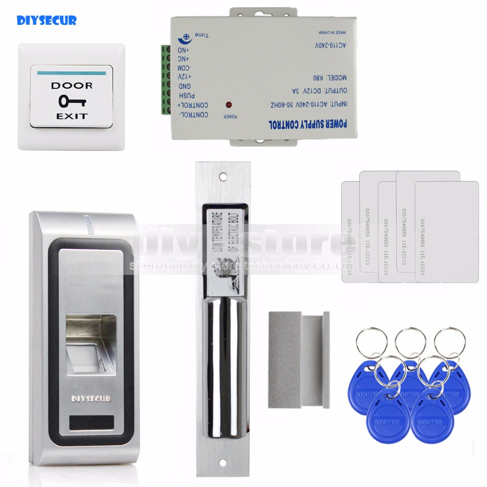 DIYSECUR Fingerprint 125KHz RFID ID Card Reader Door Access Control System Kit + Electric Bolt Lock metal rfid em card reader ip68 waterproof metal standalone door lock access control system with keypad 2000 card users capacity