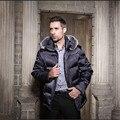Hombres chaqueta de invierno 2016 parka los hombres de calidad de la Moda de piel de zorro chaqueta de cuello de pato medio-largo espesar abrigo de invierno de tamaño de los hombres s-xxl