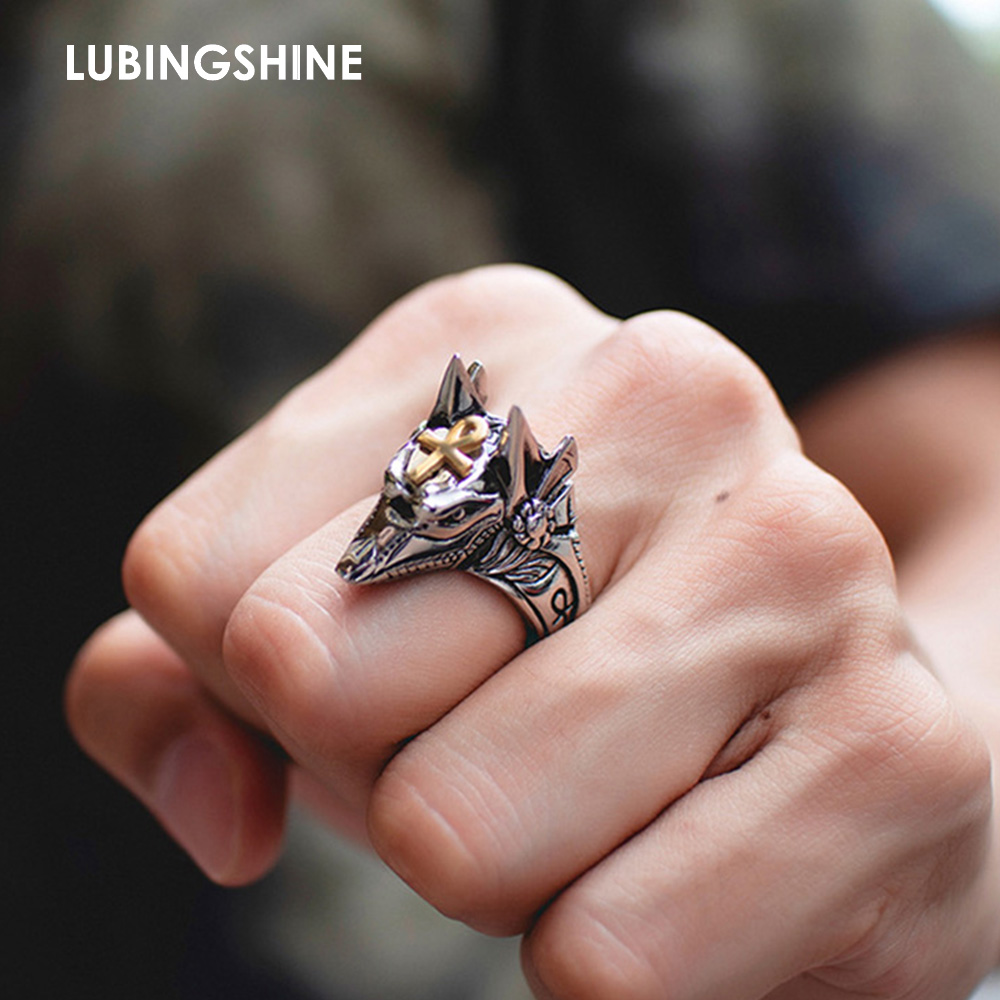 Ring for Jewelry Anubis-Beast Punk Ankh Animal Stainless-Steel Cross Gold-Color Fashion
