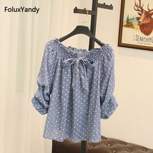 Summer Sweet Blouse Women Plus Size 3 XL Casual Lace Up Bow Polka Dot Blouse Shirt SWM889