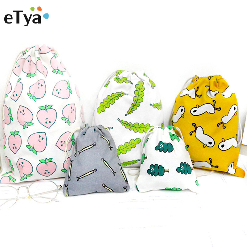 eTya Women Travel Drawstring Cosmetic Bag Cotton Cartoon Printing Makeup Case Pouch Toiletry Make Up Bag Storage Wash Bags все цены