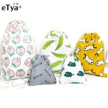 eTya Women Travel font b Drawstring b font Cosmetic font b Bag b font Cotton Cartoon