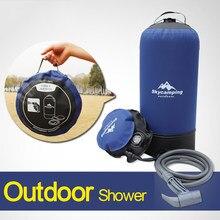 Bolsa de água inflável portátil para chuveiro, chuveiro inflável leve de pvc com 11l, saco de água para uso externo, viagem, armazenamento de água e banho