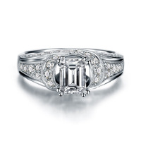 Luxury Synthetic Diamond 925 Sterling Silver Jewelry Cushion Cut White Gold Plated Engagement Diamond Wedding Ring