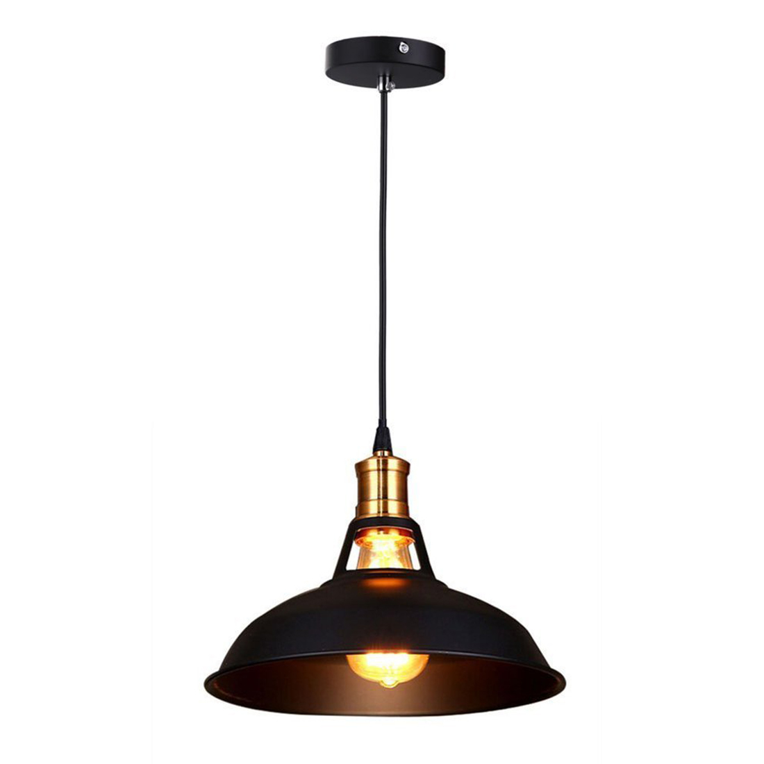 Retro Industrial Edison Simplicity Chandelier Vintage Ceiling Lamp with Metal Shiny Nordic style Shade (Black) 10 lights creative fairy vintage edison lamp shade multiple adjustable diy ceiling spider pendent lighting chandelier 10 ligh