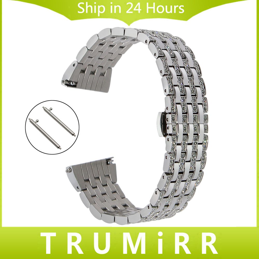 Crystal Diamond Watchband 18mm 20mm 22mm for Tissot Longines Mido Quick Release Watch Band Stainless Steel Strap Wrist Bracelet 18mm 20mm 22mm quick release watch band butterfly buckle strap for tissot t035 prc 200 t055 t097 genuine leather wrist bracelet