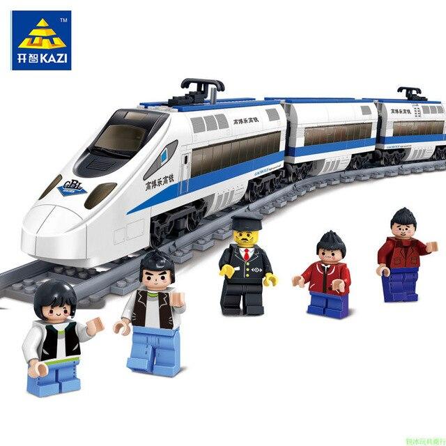 KAZI 98104 GBL Battery Powered Electric Train High-speed Rail DIY Building Blocks 415PCS Bricks Gift toys for children Legoe