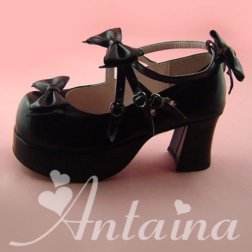 Princess sweet lolita gothic lolita shoes custom lolita cos punk bow multi-button with high-heeled shoes color can shoose gothic and lolita