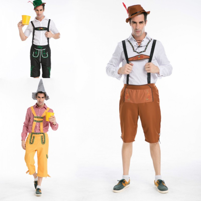 New German Beer Bavarian guy Mens <font><b>Lederhosen</b></font> Adult Worker Halloween costumes Fancy dress Outfit