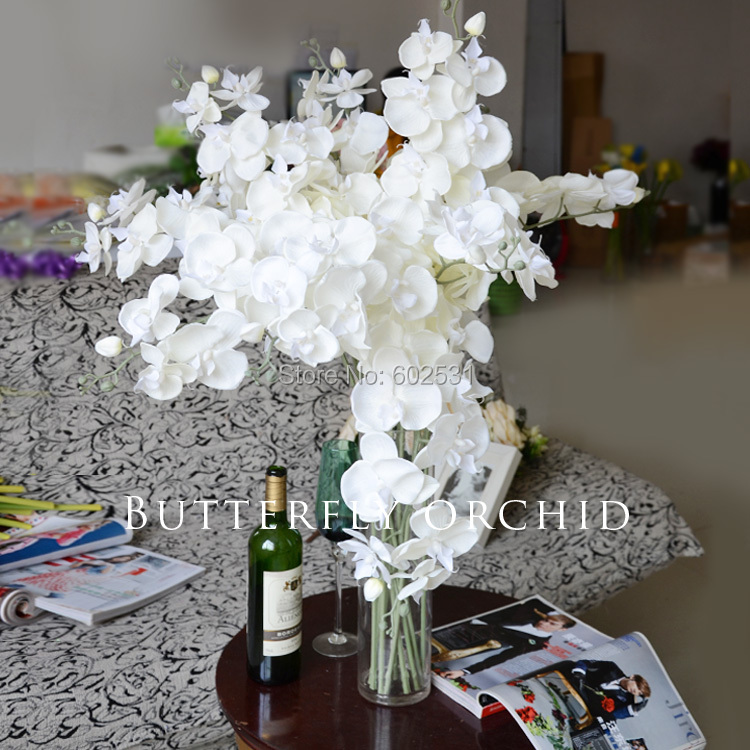 SPR 100pcs/lot artificial butterfly orchid silk flower wedding table ...