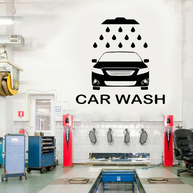 Aliexpress Com Buy Car Wash Service Wall Sticker Car Workshop Logo