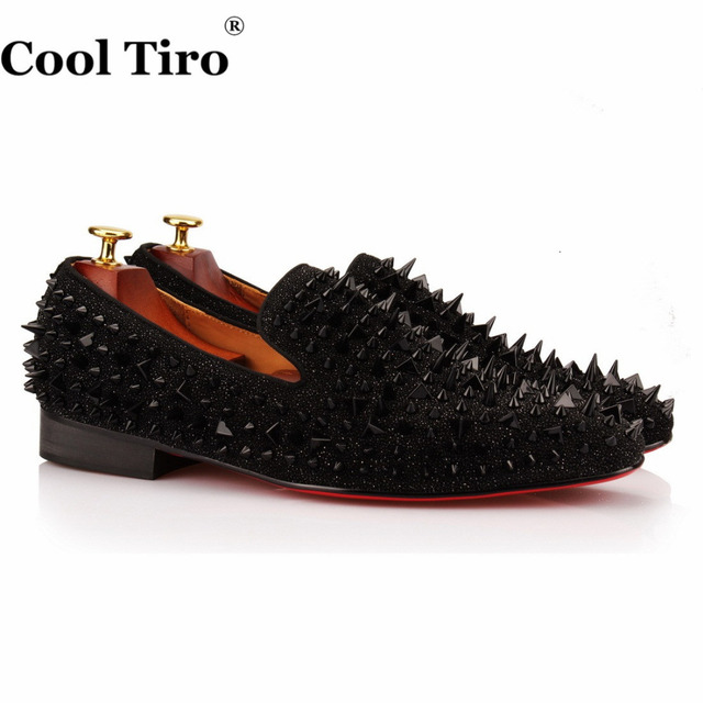 COOL TIRO Black Spikes Men Loafers Rhinestones Glitter SmokingSlippers Wedding  Men's Dress Shoes Casual Leather Square Toe Flat