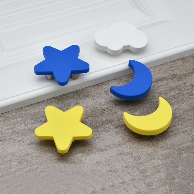 Children Room Furniture Handles Yellow Moon Cartoon Plastic Star Cloud Door  Knobs Kids Drawer Pulls Cabinet