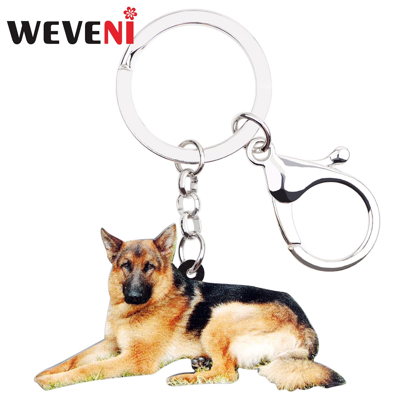 WEVENI Acrylic German Shepherd Dog Key Chains Keychains Holder Animal Jewelry For Women Girls Pet Lovers Bag Car Purse Charms