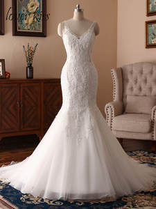 Wedding-Dress Robe Bridal-Gown Marriage Lace Backless Boho Women Lover Kiss No for Beaded
