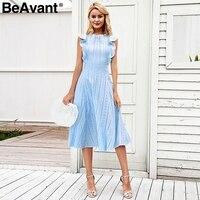 BeAvant Vintage cotton embroidery women dress Sleeveless ruffle hollow out summer dress White high waist casual ladies dresses