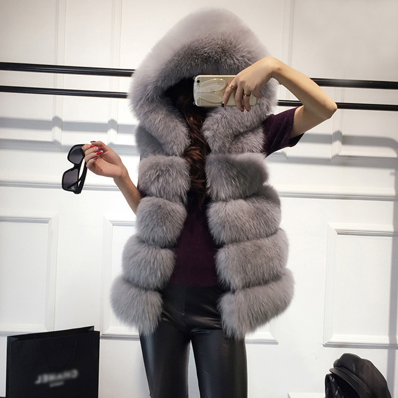 Autumn Winter Faux Fur Coat Women 2019 Casual Hoodie Sleeveless Faux Fox Fur Vest Winter Jacket Coats Female Black White