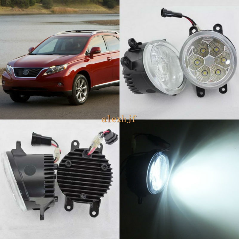 July King 18W 6500K 6LEDs LED Daytime Running Lights LED Fog Lamp case for Lexus RX350 RX450h 2010-2013, over 1260LM/pc front bumper led fog lamp daytime running light replacement assembly 2p for lexus rx rx350 rx450h 2010 2011 2012 2013